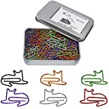 Funny Paper Clips Assorted Colors - Cute Cat Shaped Bookmark Clips - Office Supplies Clips for Party Card Wedding Invitation Decoration - Gifts Idea for Women Cat Lovers