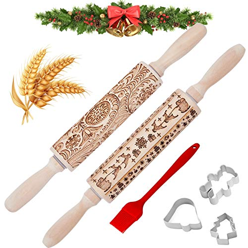 Christmas Wooden Rolling Pins - 3D Engraved Embossing Rolling Pin for Kids and Adults Embossed Rolling Pins for Baking & Cookies (Rolling Pins+Cookie Cutters+Basting Brush)