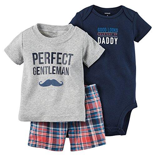 カーターズ Carter's ボディスーツ + tシャツ + パンツ 豪華3点セット 3-Piece Bodysuit & Shorts Set 3M (55-61cm) [並行輸入品]