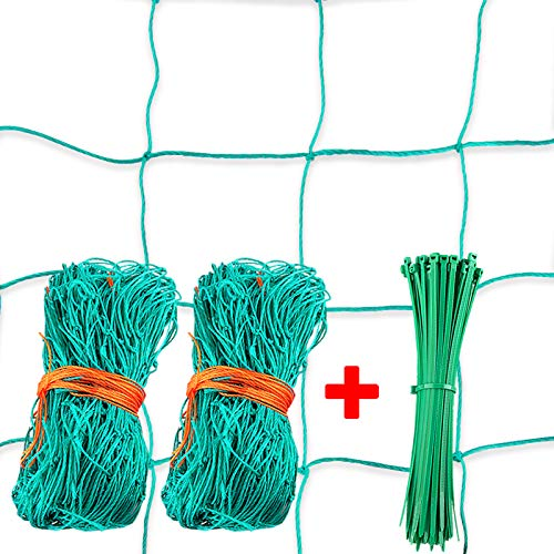 AUSTOR 2 Packs HeavyDuty Garden Plant Trellis Netting Plant Vine Climbing Net Garden Netting for Fruits and Vegetables with 100 Pcs Zip Ties 4quot Mesh 6#039 x 165#039Ft