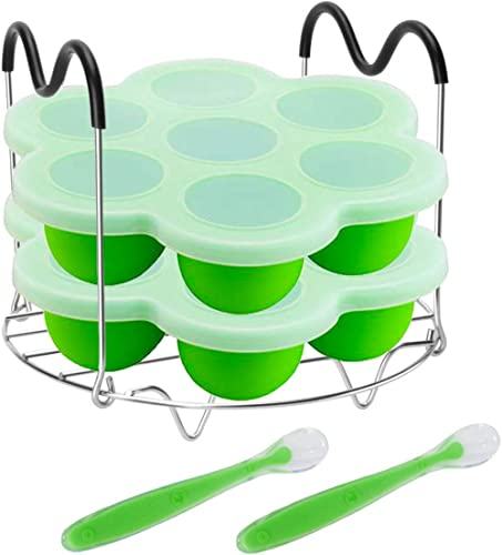 Pressure Cooker Accessories with Silicone Egg Bites Molds and Steamer Rack Trivet with Heat Resistant Handles Compatible with Instant Pot Accessories 6 Qt 8 Quart, 3 Pcs with 2 Bonus Spoons (Green) product image