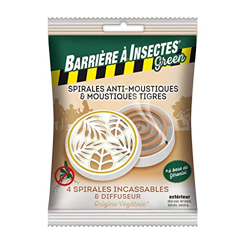 BARRIERE A INSECTES GREEN Spirales Anti-Moustiques & Moustiques Tigres, à Base de Géraniol - Sachet de 4 spirales + 1 Diffuseur décoratif, BARBIOSPIRB