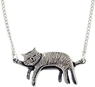 Pewter Sleeping Cat Necklace - 18