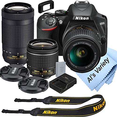 Nikon D3500 DSLR Camera Kit with 18 55mm VR 70 300mm Zoom Lenses Built in Wi Fi 24 2 MP CMOS product image