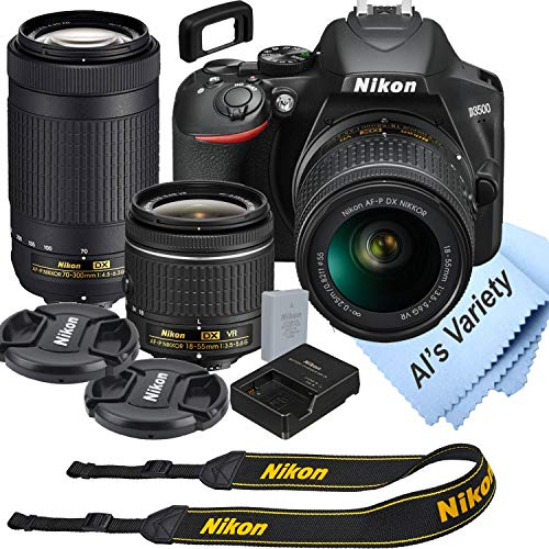 Nikon D3500 DSLR Camera Kit with 18-55mm VR + 70-300mm Zoom Lenses | Built-in Wi-Fi | 24.2 MP CMOS Sensor | EXPEED 4 Image Processor, Full HD 1080p Video Recording | SnapBridge Bluetooth Connectivity