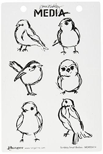 Dina Wakley Media Cling Stamps 6'X9', Scribbly Small Birdies