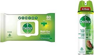 Dettol Disinfectant Skin & Surface Sanitizing Wipes, Original – 80 Count| Safe on Skin| & Dettol Disinfectant Sanitizer Sp...
