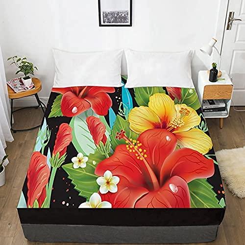 LLKK Home 1 sábana de cama 3D con sábana bajera elástica ajustable 135/150/180/200/160x200 Country Toucan Ropa de cama doble Queen King Hotel calidad (color: 3, tamaño: 135x200 profundo 30cm)