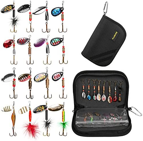 PLUSINNO Fishing Lures for Bass 16pcs Spinner Lures with Portable Carry Bag,Bass Lures Trout Lures Hard Metal Spinner Baits Kit