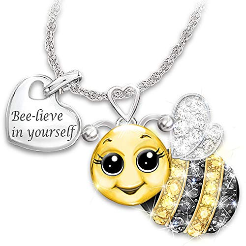 Jude Jewelers Silver Gold Plated Bee Style Inspiration Mantra Believe in Yourself Children Encouagement Pendant Necklace