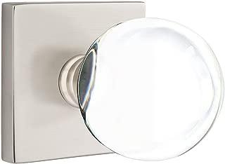 Square Rosette Door Set with Bristol Knobs Double Dummy in Satin Nickel