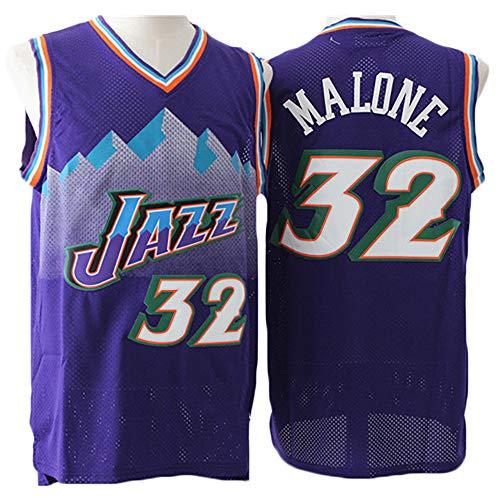 LITBIT Camiseta de Hombre 32 Malone Utah Jazz Deportiva Sin Mangas de Secado Rápido Retro,Púrpura,L(180cm/75~85kg)