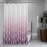 Purple Ombre Shower Curtain Geometric Trellis Morrocan Tile Print Decorative Water Resistant Fabric Liner for Bathroom Hotel Spa with Bottonholes, 1 Panel, 72x72 Inches, White to Purple Gradient