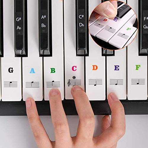 Piano Keyboard Stickers for 88/61/54/49/37 Keys, SUEWIO Colorful Large Bold Letter Electronic Piano Keyboard Note Stickers for Kids Beginners Learning Piano, Transparent, Removable and No Residue