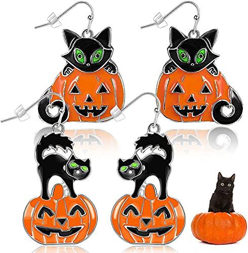 Juego de 2 pares de pendientes de Halloween, fantasma de calabaza y gato negro con dije de gato