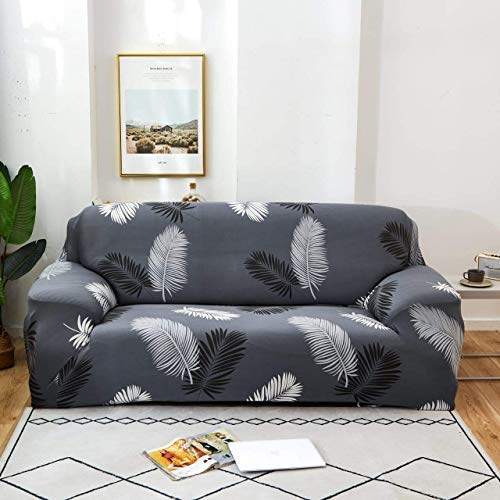 Tony Stark Spandex & Polyester Fabric   Super Stretchable   Flexible  Non-Slip  Big Elasticity  Perfect Size Sofa Cover Slipcover- 145-185cm Dark Grey Fern, Two-Seater (Cushion Cover not Included)