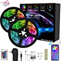 XBUTY LED Strip Lights 32.8ft - (New Version) Music Sync Color Changing Lights with +50% Brightness 5050 RGB LEDs and Strong Adhesive Tape, APP Control, Dimmable, for Party, Home Decoration