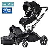 Hot Mom des limitée Version Poussette 2020, 3 en 1 bébé Poussette Système de voyage avec berceau, Noir