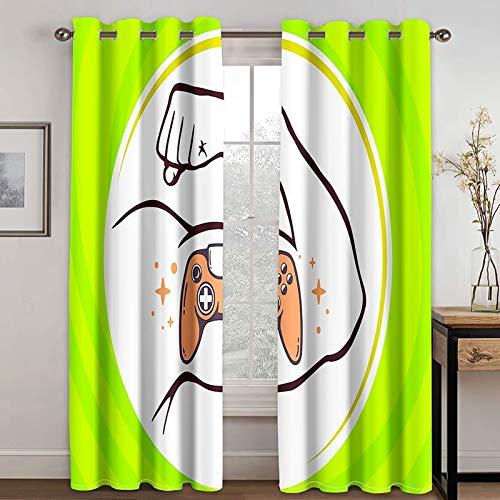 Epinki Cortina Opaca Dormitorio Consola de Juegos y Músculo Cian Blanco Cortinas Poliester, Disponible en 21 Tamaños, Talla 274x274CM