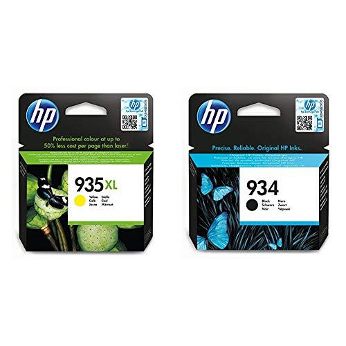 HP 935XL C2P26AE, Amarillo, Cartucho de Tinta de Alta Capacidad Original + 934 C2P19AE, Negro, Cartucho Original de Tinta