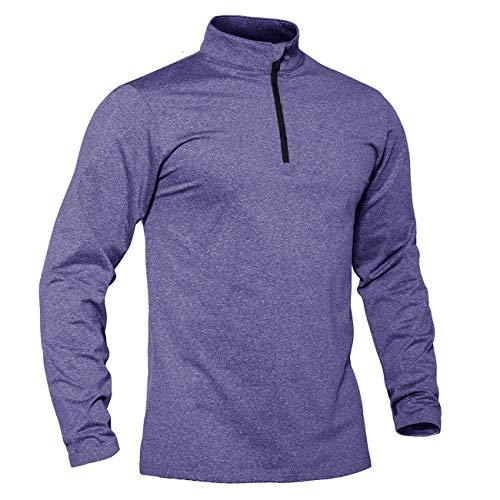 Trainingsshirt Herren Langarm Fitness Shirt 1/2 Zip Warm Herbst Winter Fleece Stehkragen Pullover Workout Atmungsaktiv Sweatshirt Long Sleeve Sportkleidung Männer Violett