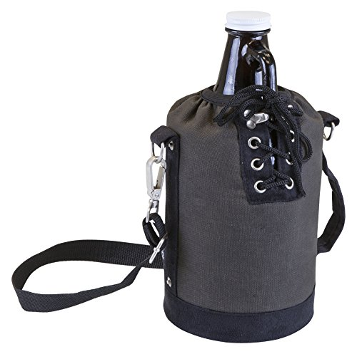 LEGACY - a Picnic Time Brand Amber Glass with Canvas Lace up Growler Tote, Gray