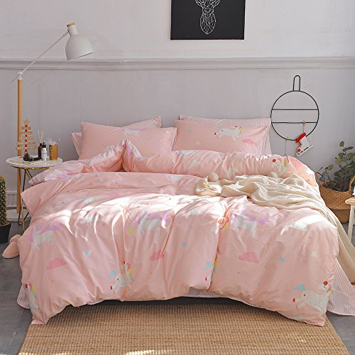 OTOB Cartoon Unicorn Queen/Full Duvet Cover Cotton Bed Set, Kids Bedding Sets Gift Full Size 3 Piece...