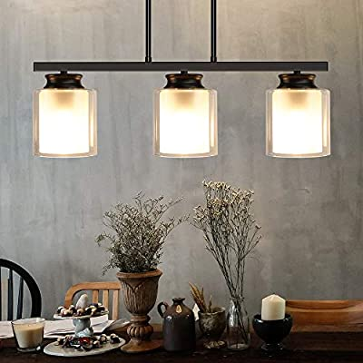 DLLT 3-Light Pendant Light Fixture, Metal Kitchen Island Lighting with Glass Shade, Industrial Farmhouse Flush Mount Ceiling Hanging Light for Dining Room, Foyer, Restaurant, Bar, E26 Base