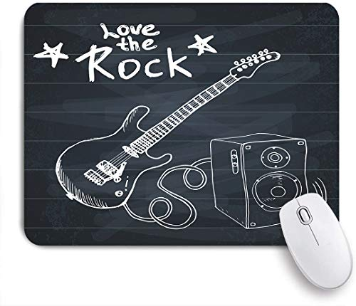 Aliciga Gaming Mouse Pad Rutschfeste Gummibasis,Rock Music Hand gezeichnete Sketch-Gitarre mit Soundbox und Text lieben den Rock Art Print,für Computer Laptop Office Desk,240 x 200mm