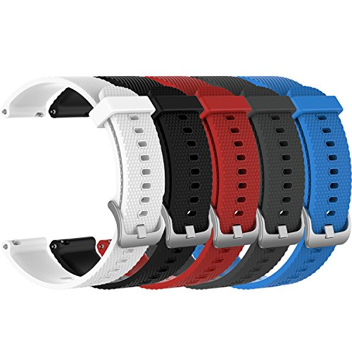 RuenTech Bands Compatible with Garmin Vivoactive 3, Vivoactive 3 Music, Vivomove HR, Vivomove Watch Band 20mm Quick Release Silicone Bands (5-Pack)