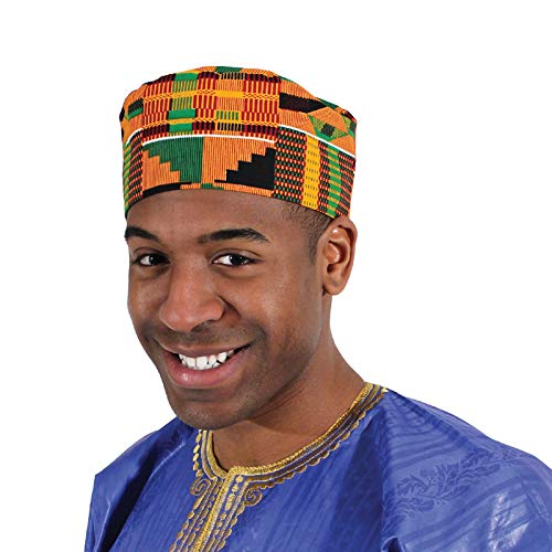 Shophaven African Kente Kufi Hat, Kofi Hat, Ankara Cap, African Men Hat, Choir, Black History Month Men Accessory