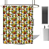 Home Decor Shower Curtain by Apple,Apple Harvest Theme with Stylized Fruit and Leaves