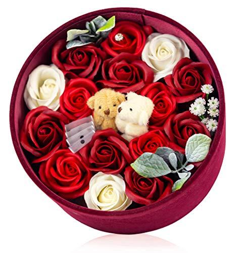 【ソープフラワー(Rubby Babe)】 ギフト ボックス(直径20センチ) プレゼント お祝い 置くだけインテリア 造花 石鹸花 ひまわり バラ クマのぬいぐるみ メッセージカードつき お手入れ不要 レッド