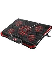 Chłodnica na laptopa o przekątnej ekranu 12-17,3 cala, ultra cicha chłodnica do notebooka z 5 cichymi wentylatorami i czerwonymi diodami LED, 7 poziomów regulacji wysokości, 2 porty USB, regulowana prędkość wiatru, laptop Cooling Pad dla graczy