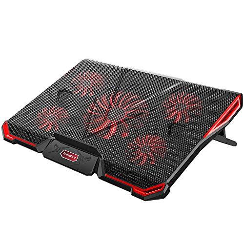 Base per il Raffreddamento di PC Portatile per Gaming Adatta per Notebook e Laptop dai 12 ai 17.3 Pollici con 5 Ventole Silenziose Illuminate con Luce Rossa LED e Doppia Porta USB