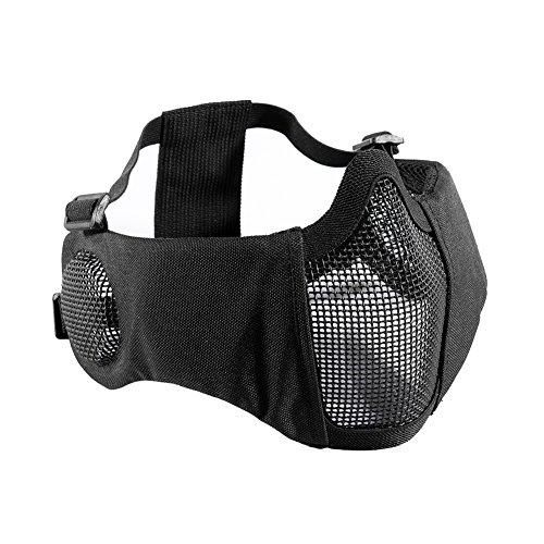 OneTigris Airsoft Faltbare halbe Maske Mesh Gesichtsmaske mit Gehörschutz (Schwarz)