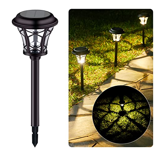Solar Pathway Lights Outdoor - 6 Pack Solar Garden Lights Waterproof with Bright Clover Pattern Auto On/Off, Landscape Lights Solar Powered for Garden Yard Lawn Patio Path Driveway, Warm White