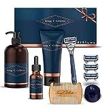 King C. Gillette Set de regalo con maquinilla de afeitar para hombre + 3 cuchillas de afeitar + aceite para barba + gel de afeitado + champú para barba + peine + soporte