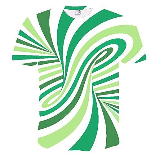 AOXQ Maglietta 3D T-Shirt da Uomo Casual O-Collo a Maniche Corte con Stampa di Moda T-Shirt 3D T-Shirt da Uomo/Donna