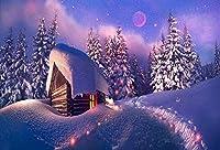 7×5フィートの壁の写真の背景ビニールクリスマスツリーの家の星長続きがする耐久性クリスマス装飾写真スタジオの背景誕生日パーティー写真背景パーティーや屋外の壁のドロップ