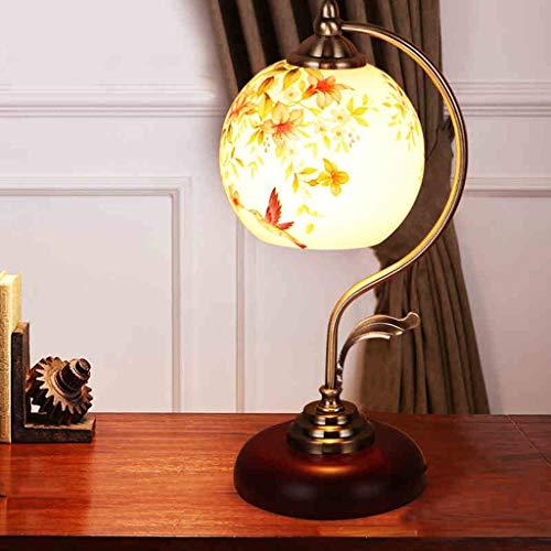 M & M mm Gqq Américain Pastorale Rétro en Fer Forgé Lampe De Table Chambre Lampe De Chevet Lampe De Verre Lampe De Table Etude Creative Bar