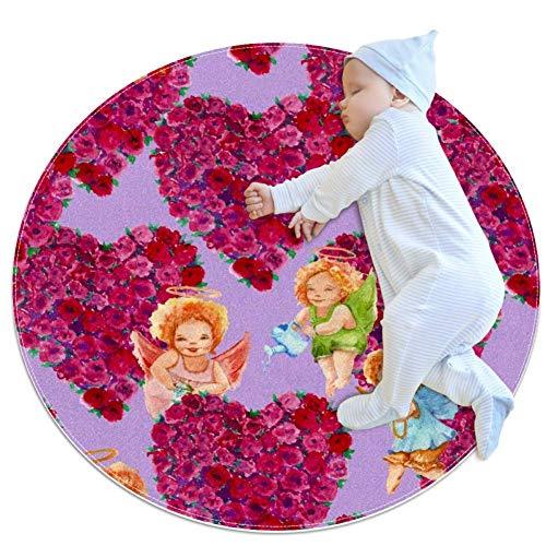 chuangxin Engel En Bloemen Baby Ronde Speelpad Crawling Mat Crawl Kussen Air-Conditioned Tapijt voor Kinderen Peuters Slaapkamer, 27.6x27.6IN