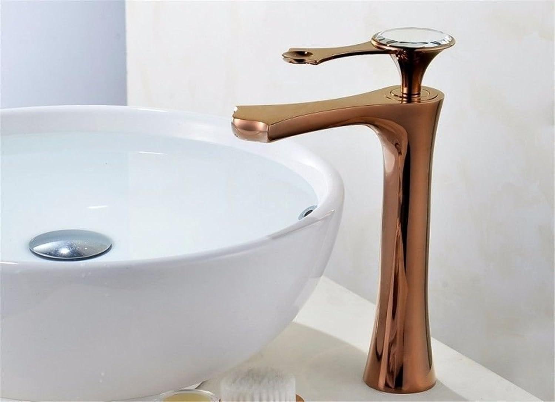 XINSU Home Waschbecken-Mischbatterie Badezimmer-Küche-Becken-Hahn auslaufsicher Speichern Sie Wasser-RoséGold-Kupfer-Becken mit hohem heiem und kaltem