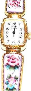 Unique Russian Chaika Wind up Finift Floral Gold Plated Band Bracelet Watch
