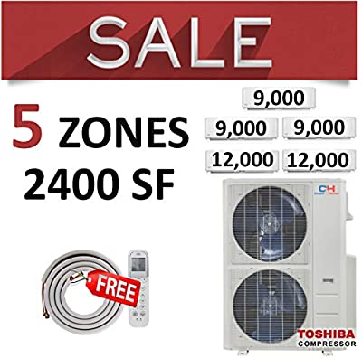 COOPER AND HUNTER C&H Sophia 5 Zone 48,000 BTU 4 Ton 21.5 SEER Ductless Mini Split Air Conditioner Wall Type, WiFi Ready