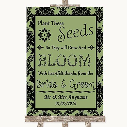 Bruidsbord Poster Print Salie Groene Damask Plant Zaden Favorieten kunnen volledig worden aangepast elke tekst of kleur - Perfect Venue Decoratie (A3) Large