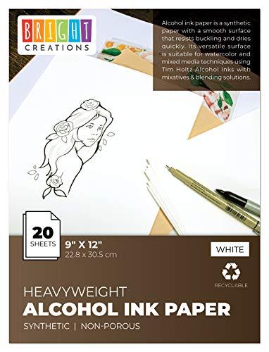 Bright Creations Papier (20 Blatt) - Recyclebar - Ideal für die Verwendung mit Aquarellfarben, Alkoholtinte - Perfekt zum Malen und Basteln - Weiß, 22,8 x 30,5 cm