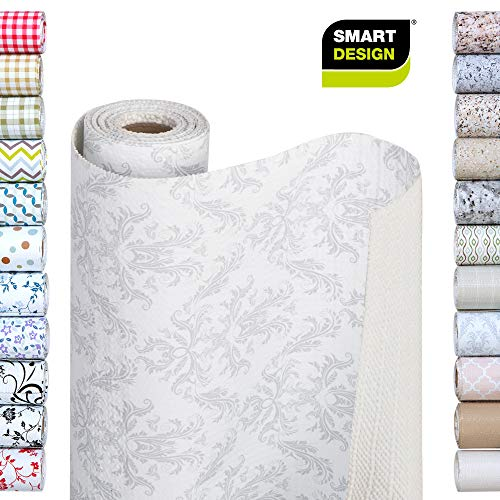 Smart Design Shelf Liner w/Bonded Grip - Wipes Clean - Cutable Material - Non Slip Design - for Shelves, Drawers, Flat Surfaces - Kitchen (12 Inch x 10 Feet) [Fleur Gris]