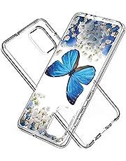 Telefoonhoesje voor Samsung Galaxy A71 schokbestendig hard plastic achterkant + TPU zachte bumperbescherming, hoes met Kawaii Cartoon Card telefoonhoesje, Samsung Galaxy A71, Blauwe Vlinder