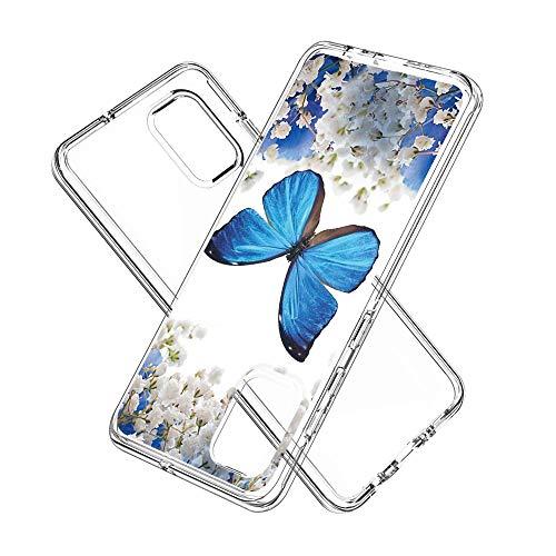Coque Samsung Galaxy A71, Silicone Bumper, Transparent PC + TPU Hybride Boîtier de Protection avec Carte de Mode (Papillon Bleu)